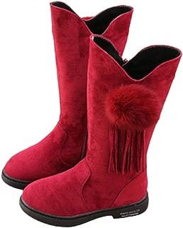 Hopscotch Girls PU Pom Pom Applique Ankle Length Boots - Red
