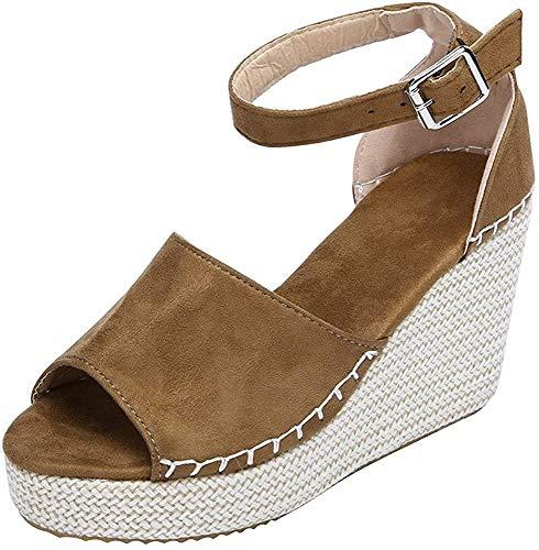 Logobeing Sandalias y Chancletas Zapatos de Plataforma Plana Polaca de Costura Polaca Peep Toe Sandalias de Cerrojo Playa Zapatos de Verano (37, Marrón)