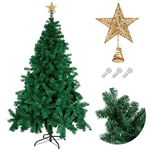 Migaven Albero di Natale Artificiale, 180 cm Verde con 850 Rami e Corone Dorate, Decorazione per Casa, Soggiorno, Cortile, Festa di Natale
