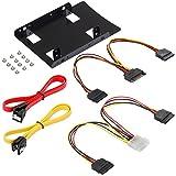 Poppstar - Kit de Montaje Soporte y Juego de Cables con Marco de Montaje para 2 SSD - HDD internos de 2,5 Pulgadas (Cable SATA 3, Cables de alimentación y Tornillos incluidos)