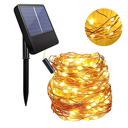 Anpro Solar String Light Outdoors - 1 Pack of 100 LED 10 Meters Warm White Outdoor String Lights with 8 Lighting Modes to Decorate Garden, Yard, Portch, Solar Powered IP65 Waterproof