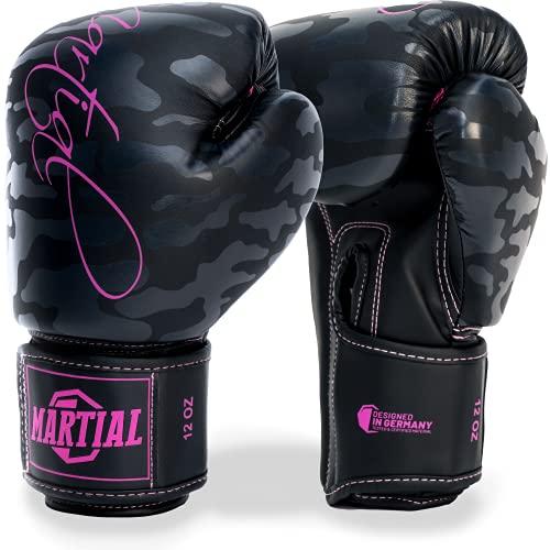 MADGON Guantoni da Boxe da Donna Martial Realizzati con Il miglior Materiale per Una Lunga Durata! Guanti da Kickboxing per Arti Marziali, MMA, Sparring e Boxe con Assorbimento ottimale degli Urti.