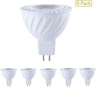 EBD Lighting MR16 LED Bulbs (6 Pack) 5W AC/DC 12V GU5.3 Bi-Pin Base Non-dimmable 6000K Cool White 50 Watt Equivalent 36 Degree Beam Angle for Landscape,Recessed,Track Lighting