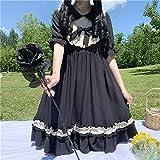 YUNCHENG Femme Vêtements Lolita Robe Streetwear Chemise Vintage Lolita Style Fête Dress Street Femmes Peter Pan Collier Ruffles Robes Cute Femme Vêtements (Color : Black, Size : One Size)