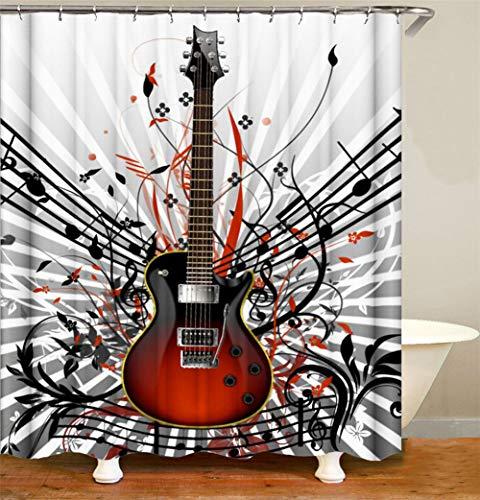 ZZZdz Gitaar Tabs. Woondecoratie. Douchegordijn. 180 x 180 cm. 12 vrije haken. 3D Hd Afdrukken. Rijke patronen.