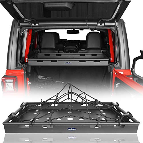 Hooke Road Cargo Cover Basket Rack (Upgrade Version for Hard/Soft Top) Luggage Storage Carrier for 2018-2021 Jeep Wrangler JL Unlimited 4-Door(Excluded Sky One-Touch Power Top)