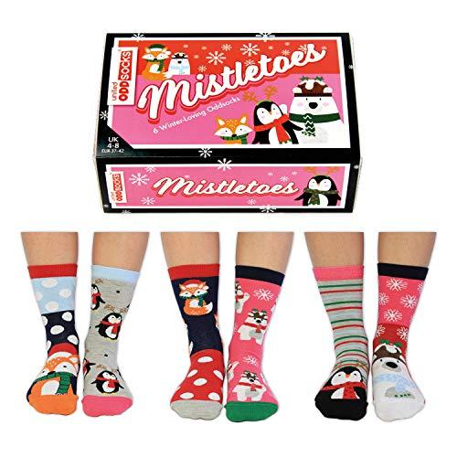 Mistletoes Weihnachten Oddsocks Socken in 37-42 im 6er Set - Strumpf