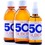 600ml Plata coloidal PureSilverH2O / 2 x Botellas (cada 250ml/50ppm) Plata coloidal + spray (100ml/50ppm) - 99,99% de plata pura - la mejor calidad - Made in Germany