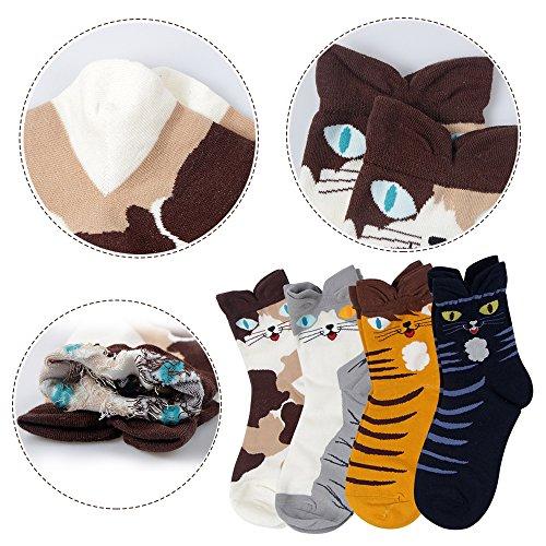 Ambielly Socken aus Baumwolle Thermal Socken Erwachsene Unisex Socken (4 Katzen) - 6
