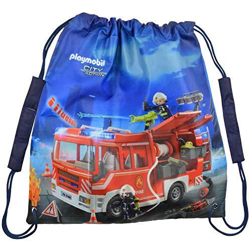 PLAYMOBIL City Action - Bolsa de deporte de policía, Diseño de bomberos. (Azul) - 0126498