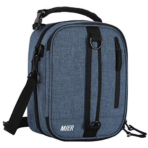 MIER Insulated Lunch Box Bag Expandable Lunch Pack for Men, Women, Blue