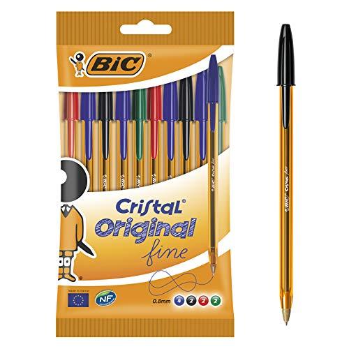 BIC Kugelschreiber Cristal Original fine im 10er Set – Blau, Schwarz, Rot, Grün