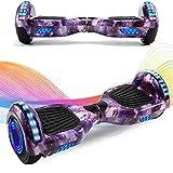 HappyBoard Hoverboard 6.5'' Patinete Eléctrico Bluetooth Monopatín Scooter autobalanceado, Ruedas de Skate con luz LED, Motor Bluetooth de 700W para niños y Adultos (Cielo Azul)