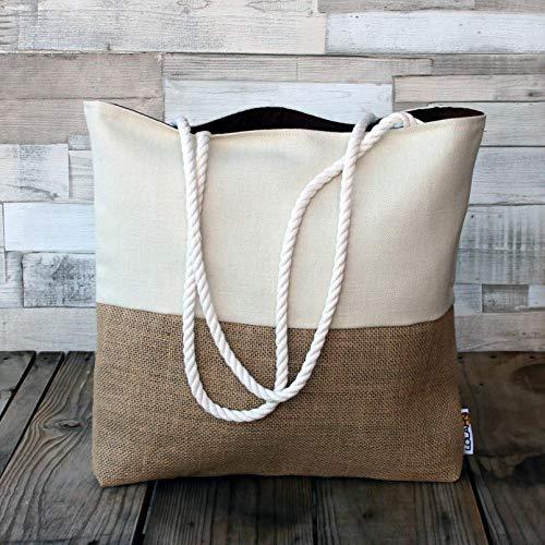 Bolso de playa - Blanco - Maxibolso de verano, hecho a mano en lona y tela de saco, con asas de cordón de algodón