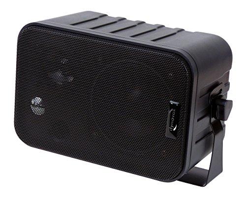 Dynavox 3-Wege Mini-Box mit Halterung für Wandmontage, Paar, Kleiner Surround-Lautsprecher für Heimkino, schwarz
