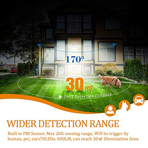 SIUES 2021 NEW 360° Rotating Solar Outdoor Motion Sensor Light, 70 LEDs Solar Security Lights Waterproof Solar Motion Detector Lights with 3 Lighting Modes for Fence Shed Driveway Balcony, 1 Pack