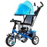 Bicicleta de bebé Triciclo de niños carretilla / Cochecito de bebé / Triciclo de bicicleta de bebé, 1 - coche de bebé de 6 años ( Color : Azul )