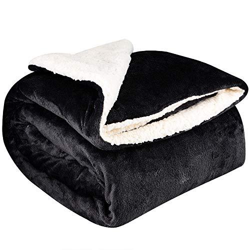 NEUFLY Decke, Flannel Blanket Wohndecke 150 x 200 cm Couchdecke Warme Kuscheldecke für Bett und Sofa (Dblside-schwarz)