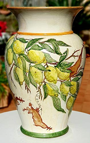 Portaombrelli Linea Limoni Ceramica Realizzato e Dipinto a mano Pezzo Unico Oggetto d'arte Le Ceramiche del Castello Made in Italy