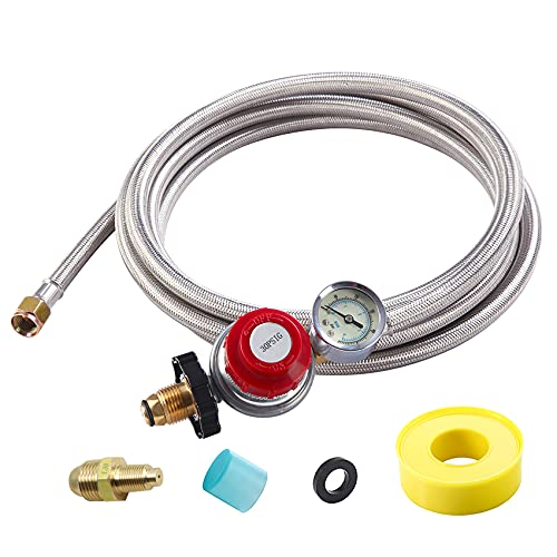 12 Foot High Pressure Adjustable Propane Regulator 0-30 PSI with Gauge 0~60PSI Gas Flow Indicator, Gas Cooker-3/8inch Female Flare Fitting, Stainless Steel Braided Hose and Gas Grill LP Regulator …