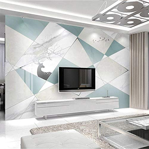Moderno minimalista nórdico abstracto geométrico imitación de mármol mosaico sala de estar TV Fondo pintura de pare Pared Pintado Papel tapiz 3D Decoración dormitorio Fotomural sala mural-400cm×280cm
