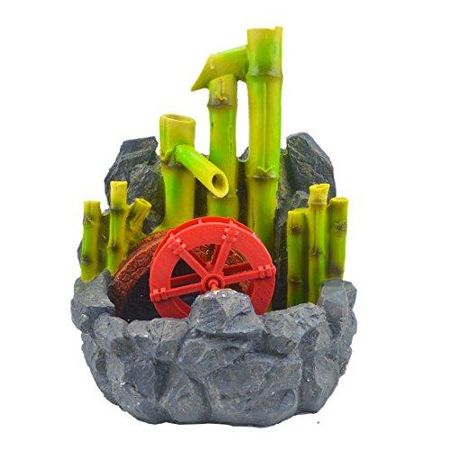 fengshuisale Bamboo Water Wheel Fountain for Future Prosperity W Red String Bracelet W2395