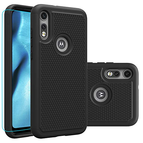 Moto e (2020) Case, Motorola E (2020) Case with HD Screen Protector,Giner Dual Layer Heavy-Duty Military-Grade Armor Defender Protective Phone Case Cover for Motorola Moto e (2020) (Black Armor)