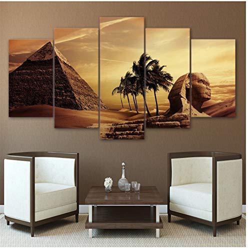 Arte de la pared Cuadros Decoración para el hogar Sala de estar Cartel 5 Piezas Pirámides egipcias Pintura Lienzo-30x40 30x60 30x80cm Sin marco
