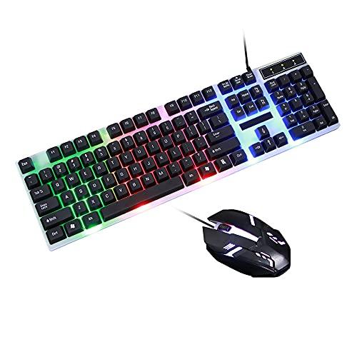 Teclado mecánico con cable, accesorios de computadora de escritorio Teclado iluminado Teclado mecánico con cable, combinación de mouse y vestuario, teclado con cable Teclado mecánico para W