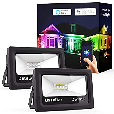 Ustellar 2 Pack Smart Outdoor Flood Lights 15W RGB Wifi LED Lights Color Changing Indoor Outside Floodlights Multicolor Dimmable IP66 Waterproof Wall Washer Light Stage Lighting Compatible with Alexa