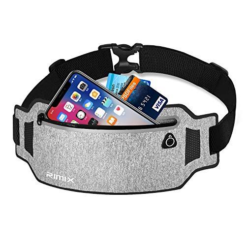 EXski Bauchtasche Flache Lauftasche Jogging Handy Gürteltasche Leicht Sport Hüfttasche Laufen für iPhone X 8 7 Plus Samsung 6,1 Zoll Damen Herren, Schwarz