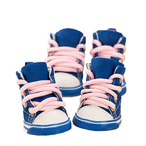 Love pet Zapatos para mascotas para perros - lona para encaje de zapatos para perros Resistente al calor y transpirable Antideslizante (Color : A, Tamaño : 3)