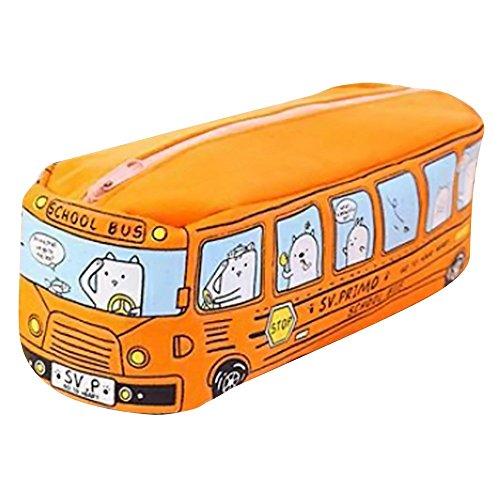 Sameno Cute Pencil Pouch'School Bus' Kawaii Pencil Pouch for Girls Boys Kids Large Pencil Case Zippered Pencil Bag Organizer Sameno School Supplies