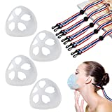 Mask 3D Bracket Inner Support - Mask Lanyard Ear Pressure Relief Extender Strap, Comfortable, Light and Safe (4pcs Brackets and 5pcs Lanyards)