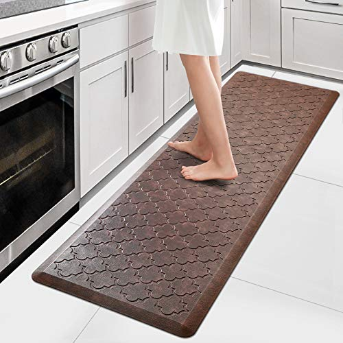 WiseLife Kitchen Mat Cushioned Anti Fatigue Floor Mat,17.3'x60', Thick Non Slip Waterproof Kitchen Rugs and Mats,Heavy Duty Foam Standing Mat for Kitchen,Floor,Home,Office,Desk,Sink,Laundry, Brown