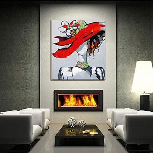 Lonfenner schilderen op cijfers Volwassenen Mooie vrouw van het digitale schilderij in hoed met hoedenkunst popart olieverfschilderij hoge kwaliteit Frameloze 50x60cm