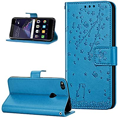 Leather Case for Huawei P8 Lite 2017 Case, Embossed Relief Sakura Cherry Blossom Cat Pattern PU Leather Flip Case Cover Stand Wallet Case Protective Mobile Phone Case for Huawei P8 Lite 2017, Blue