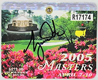 Autographed Signed Tiger Woods 2005 Masters Augusta National Golf Club Badge JSA #Z67169