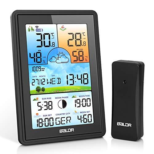 BIMONK Farb Wetterstation mit Außensensor, Innen und Außen Digitale Hygrometer Thermometer, Multifunktionale Funkwetterstation mit Temperatur, Luftfeuchtigkeit, Wettervorhersage, Wecker und Mehr