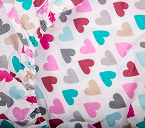 KempKids. Kinderbettlaken Bettlaken Spannbettlaken für Kinderbetten Größe: 90x200 cm Herzen