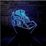 Bulldozer Led Nuit Lumière Usb Charge Chambre Sommeil Décor 7 Couleur Changeusb...
