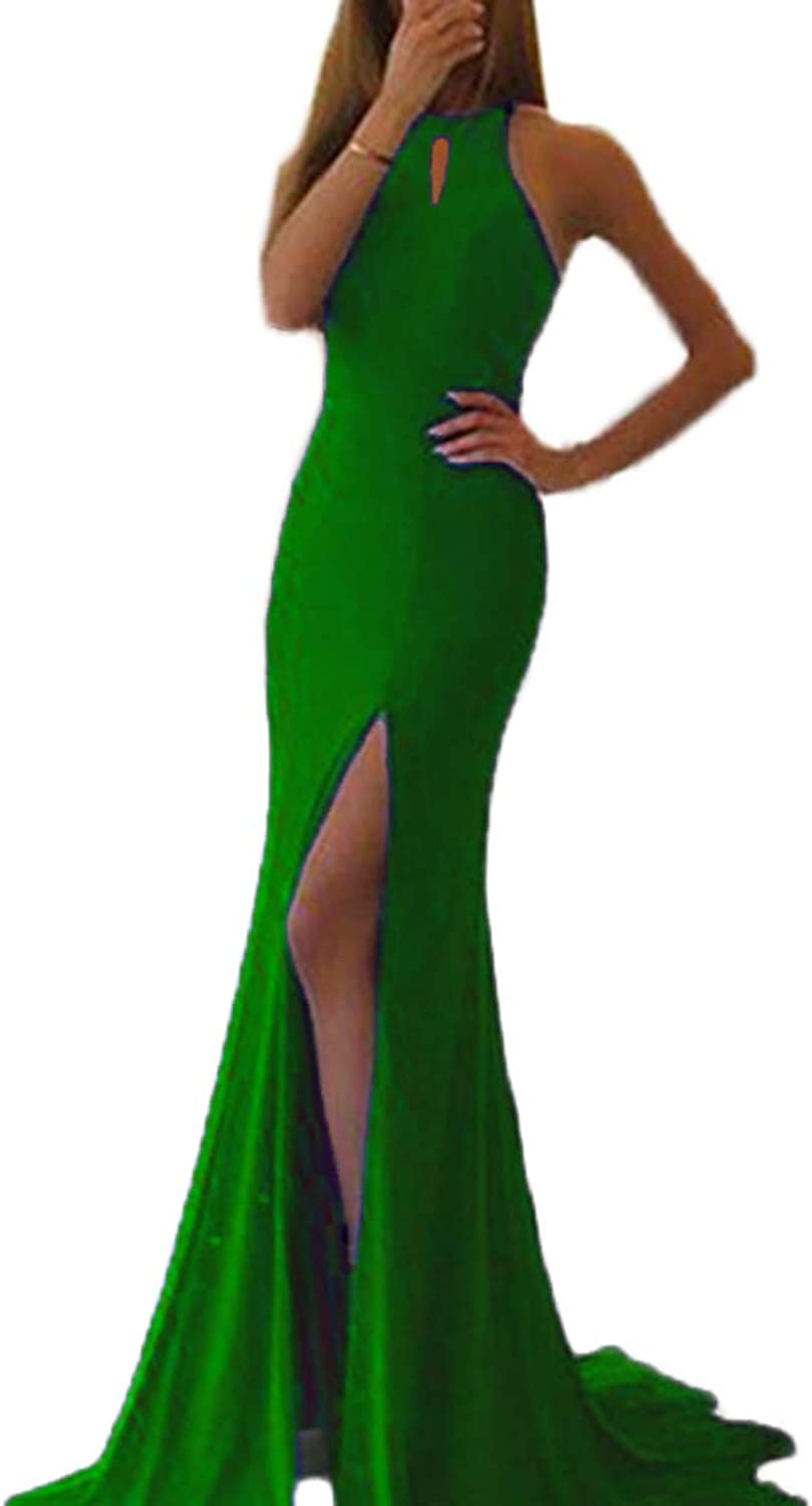 Alilith.Z Sexy Halter Side Slit Prom Dresses Open Back Long Mermaid Formal Gowns Evening Dresses Women