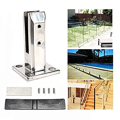 Wanlecy Glass Clamp Brackets Stainless Steel 12mm, Glass Deck Pool Fencing Spigot Bracket Post Clamp for Frameless Garden Balustrade Staircase Railing