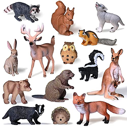 Moukiween Woodland Animals Figures – 14pcs Realistic Forest Animals Cake Toppers Creatures Figurines Playset Miniature Toys Birthday Gift for Kids Toddlers