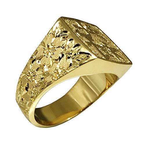 純金 リング K24 印台 印鑑彫 北村 桜龍 6匁 浮彫 高密度 メンズ 印面文字選べる指輪(14号)