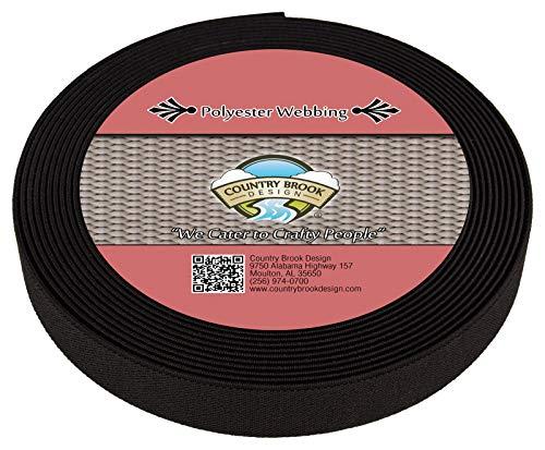 Country Brook Design - 3/4 Inch Black Elastic Polyester Webbing, 6 Yards