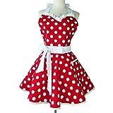 Sweetheart Retro Delantal de cocina Mujer Niña Lunares Salón de cocina Pinafore Vintage Delantal Vestido (Rojo)