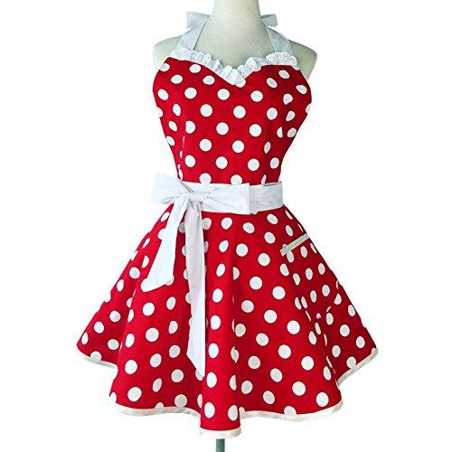 Sweetheart Retro - Delantal de cocina para mujer, algodón, diseño vintage, diseño de lunares