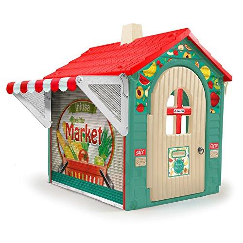 INJUSA - Casa de Juguete Market con Toldo y Persiana para Niños de 3 Años con App Educativa de Realidad Aumentad Casa, Multicolor, 29 cm (2036)