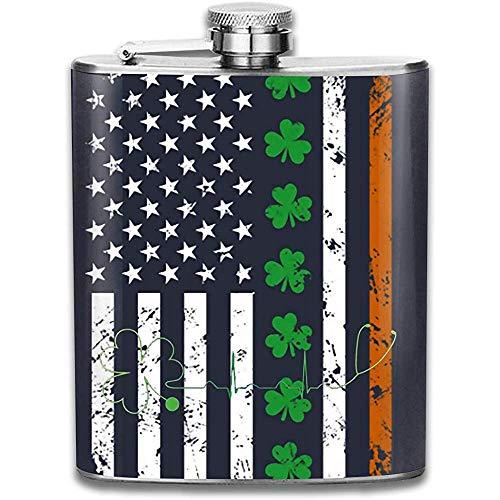 Flachmann für Schnaps Whiskyflasche mit amerikanischer und irischer Flagge für Schnaps für Männer und Frauen Auslaufsicherer Flachmann aus Edelstahl